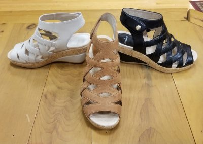 Cecily in ivory full grain, camel milled nubuck and black full grain for $145- 3 in heel height very lightweight and comfortable