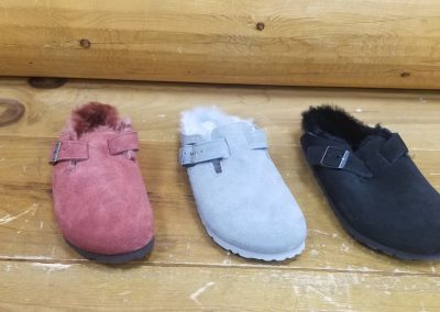 Boston Shearling in port, dove gray and black suede for $165