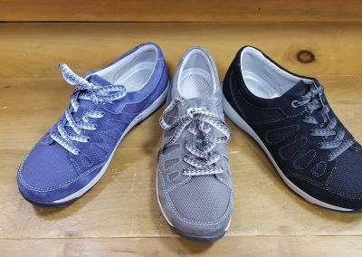 Heather in blue, grey, and black for $110